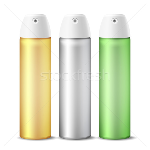 Realistic Air Freshener Spray Can Vector. Aluminium Can Template Blank. Hairspray, Deodorant. 3D Pac Stock photo © pikepicture