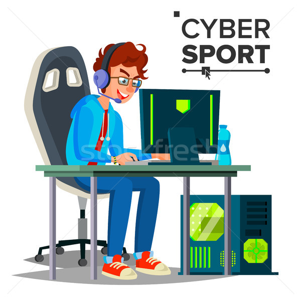 Cyber Sport Player Vector. Participant Of Cyber Sport Tournament. Event. Esport Event Poster Concept Stock photo © pikepicture