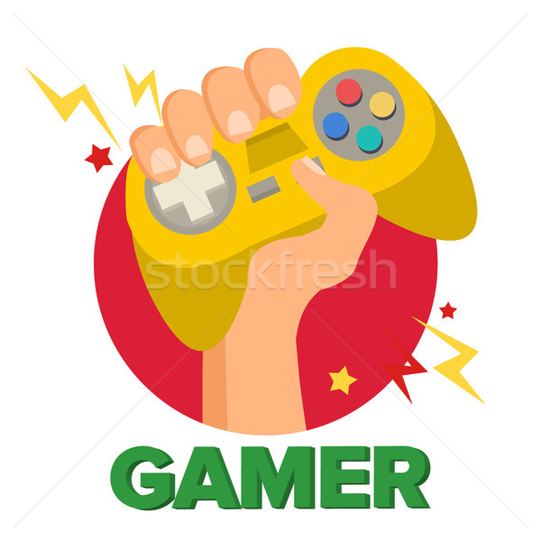 Gamer Hand With Joy Stick Vector. Game Concept. Video Game Console, Controller Symbol, Gamepad. Isol Stock photo © pikepicture