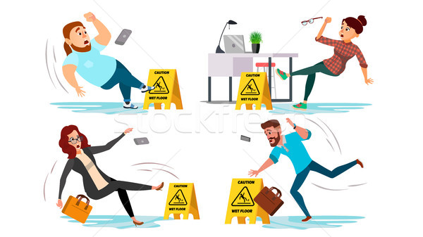 Caution Wet Floor Sign Vector. People Slips On Wet Floor. Situation In Office. Danger Sign. Clean We Stock photo © pikepicture
