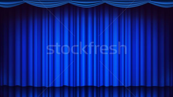 Blue Theater Curtain Vector. Theater, Opera Or Cinema Empty Silk Stage, Blue Scene. Realistic Illust Stock photo © pikepicture