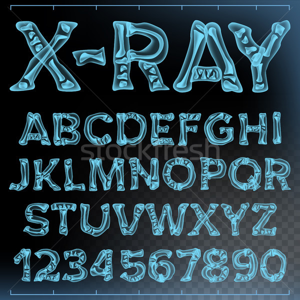 X-ray Font Vector. Transparent Roentgen Alphabet. Radiology 3D Scan. Abc. Blue Bone. Medical Typogra Stock photo © pikepicture