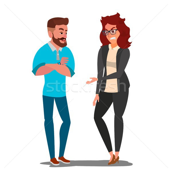 Quarrel Man And Woman Vector. Office Workers Characters Conflict. Disagreements. Negative Emotions.  Stock photo © pikepicture