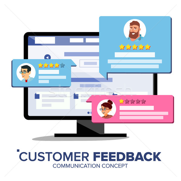 Customer Review Vector. Desktop Pc Display On Monitor Screen Vector. Speech Bubbles. Online Store We Stock photo © pikepicture