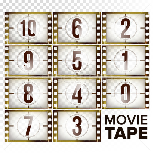 Film Countdown Numbers 10 - 0 Vector. Monochrome Brown Grunge Film Strip. Elements Of Cinema. Start  Stock photo © pikepicture