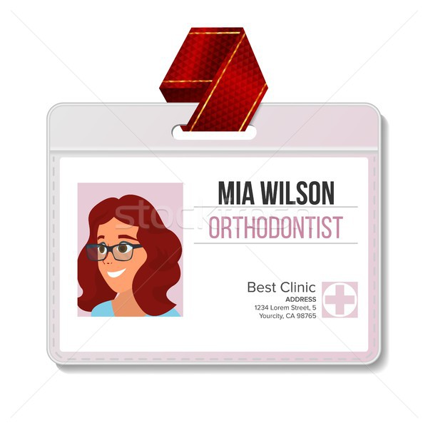 Orthodontist Identification Badge Vector. Woman. Plastic Blank. Doctor. Hospital. Medical Person. Is Stock photo © pikepicture