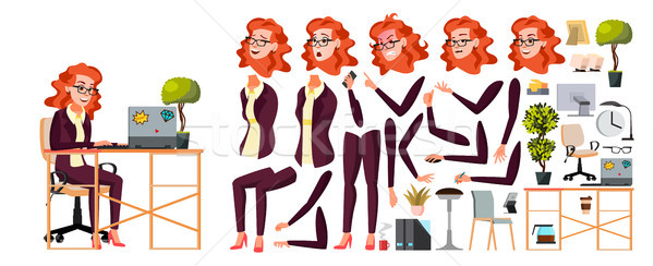 Stock photo: Office Worker Vector. Woman. Businessman Human. Lady Face Emotions, Various Gestures. Animation Crea