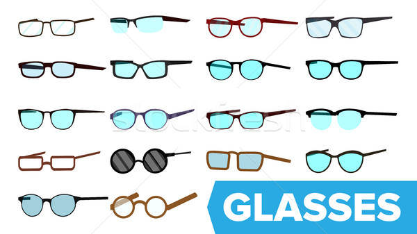 Glasses Set Vector. Modern Glasses Icon. Different Eyewear Types. Eyeglasses With Frame. Blue Lense. Stock photo © pikepicture