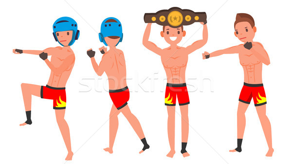 MMA Male Player Vector. Poses Set. Muscular Sports Guy Workout. In Action. Cartoon Character Illustr Stock photo © pikepicture