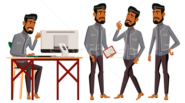 Arab Man Office Worker Vector. Business Set. Traditional Clothes. Arab, Muslim. Emotions, Gestures.  Stock photo © pikepicture