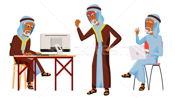 Stockfoto: Arab · man · kantoormedewerker · vector · oude · traditioneel