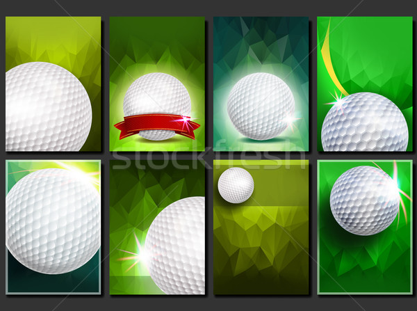 Golf Poster Set Vector. Empty Template For Design. Promotion. Golf Ball. Modern Tournament. Sport Ev Stock photo © pikepicture