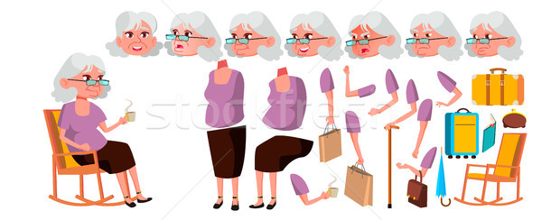 Old Woman Vector. Senior Person Portrait. Elderly People. Aged. Animation Creation Set. Face Emotion Stock photo © pikepicture