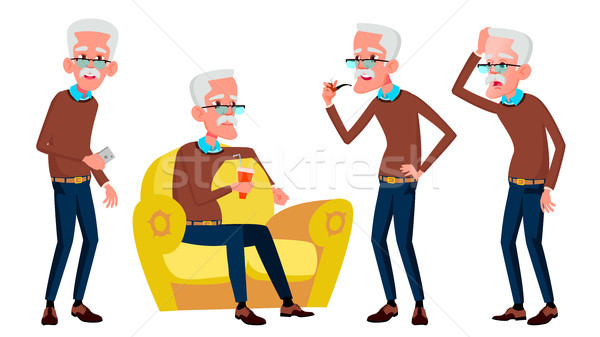 歳の男性 セット ベクトル 高齢者 人 シニア ストックフォト © pikepicture