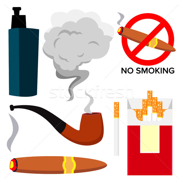 Smoking Icons Vector. Cigarette, Cigar, Protect Symbol, Electronic Cigarette, Vape. Addiction. Isola Stock photo © pikepicture