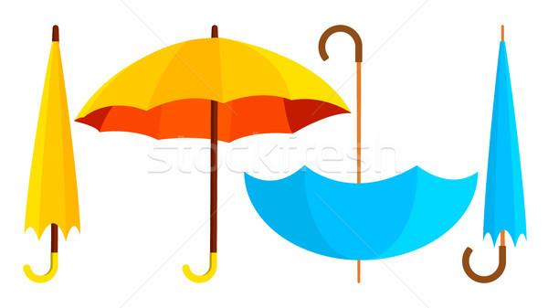 Umbrella Icon Vector. Opened And Closed. Autumn Rain Concept. Isolated Cartoon Illustration Stock photo © pikepicture