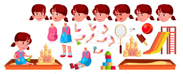 Girl Kindergarten Kid Vector. Animation Creation Set. Face Emotions, Gestures. Caucasian Child Expre Stock photo © pikepicture