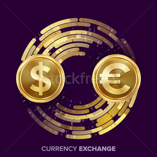 Money Currency Exchange Vector. Dollar, Euro. Golden Coins With Digital Stream. Conversion Commercia Stock photo © pikepicture