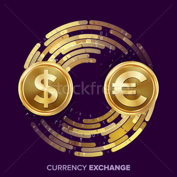 Geld valuta uitwisseling vector dollar euro Stockfoto © pikepicture