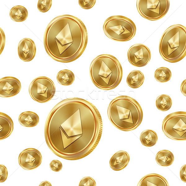 Ethereum Seamless Pattern Vector. Gold Coins. Digital Currency. Fintech Blockchain. Isolated Backgro Stock photo © pikepicture