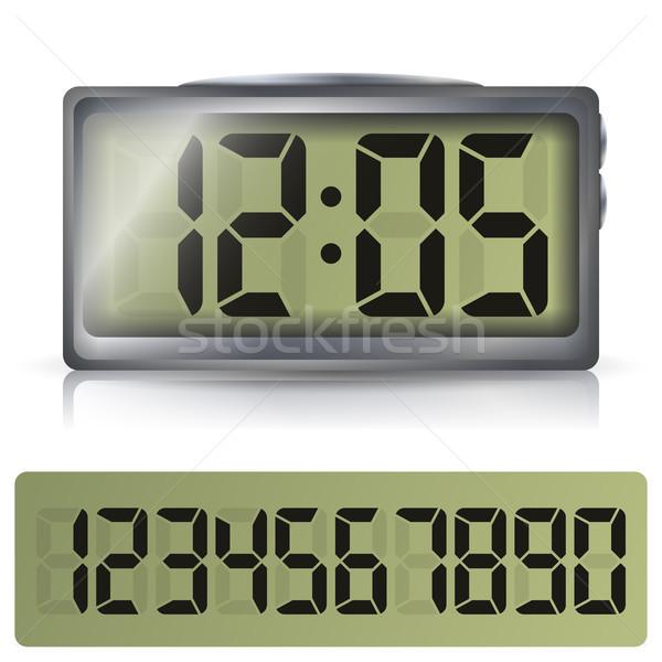 Digitale wekker vector klassiek klok lcd Stockfoto © pikepicture