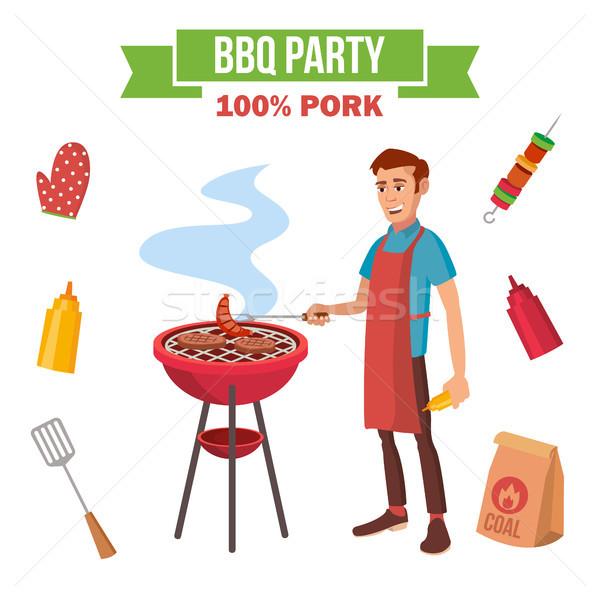 BBQ grill hús főzés vektor férfi Stock fotó © pikepicture