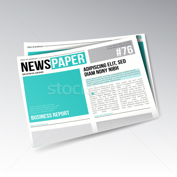 Folded Business Newspaper Vector. Images, Articles, Business Information. Daily Newspaper Journal De Stock photo © pikepicture