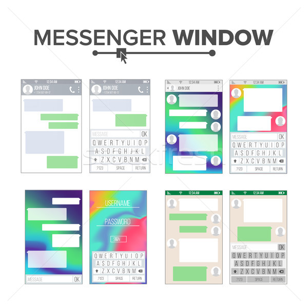 Mobile UI Kit Messenger Vector Set. Chat App Design Template. Chat, Sms Application Vector Template. Stock photo © pikepicture