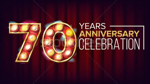 70 Years Anniversary Banner Vector. Seventy, Seventieth Celebration. Vintage Style Illuminated Light Stock photo © pikepicture