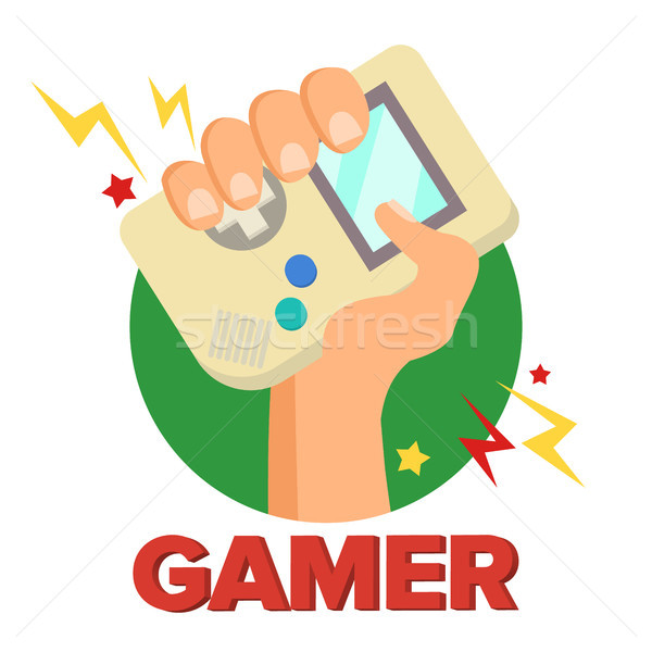 Gamer Concept Vector. Games Digital Design. Portable Console, Controller Symbol, Gamepad. Old Gadget Stock photo © pikepicture