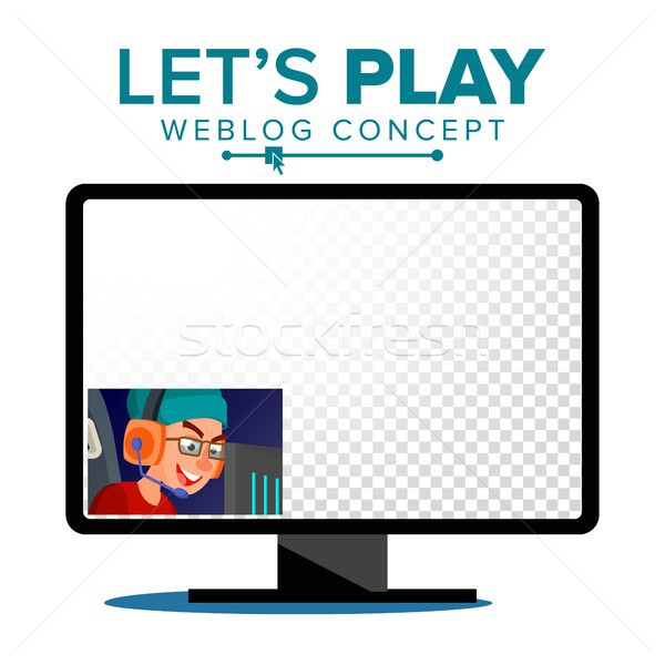 Let s Play Blogger Review Concept Vetor. Videoblogger On A Screen. Young Video Streamer Boy. Gaming  Stock photo © pikepicture