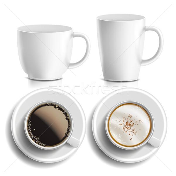 кофейные чашки вектора Top вид сбоку различный ароматический Сток-фото © pikepicture