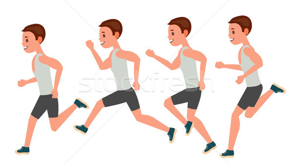 Male Running Vector. Animation Frames Set. Sport Athlete Fitness Character. Marathon Road Race Runne Stock photo © pikepicture