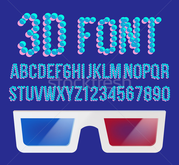 3D шрифт Пиксели вектора голографический эффект Сток-фото © pikepicture