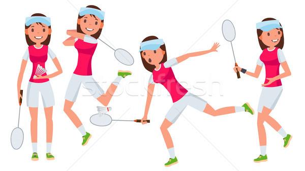 Badminton vrouwelijke speler vector actie kampioenschap Stockfoto © pikepicture