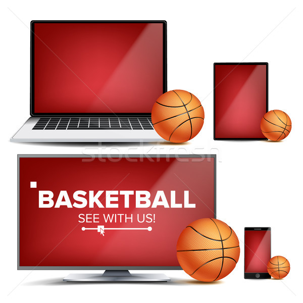 Basketball Application Vector. Field, Basketball Ball. Online Stream, Bookmaker, Sport Game App. Ban Stock photo © pikepicture