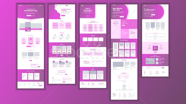 Website Page Vector. Business Website. Web Page. Landing Design Template. Achieve The Goal. Group Me Stock photo © pikepicture