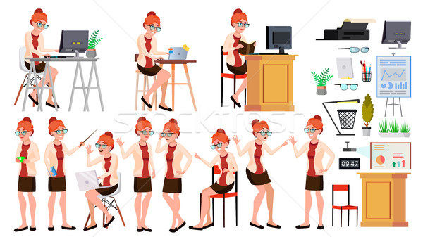 Office Worker Vector. Woman. Professional Officer, Clerk. Adult Business Female. Lady Face Emotions, Stock photo © pikepicture