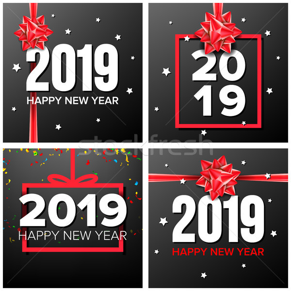 2019 Happy New Year Background Set Vector. Numbers 2019 Sign. Confetti, Red Bow. Modern Christmas Br Stock photo © pikepicture
