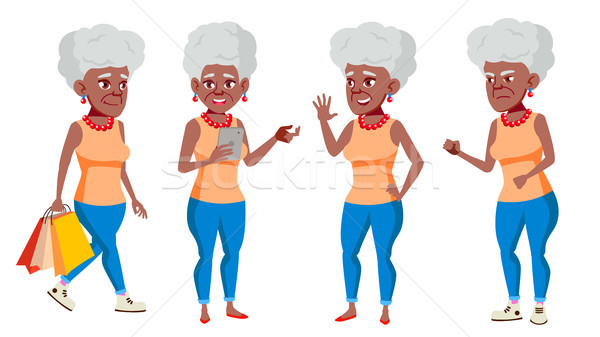 Old Woman Poses Set Vector. Black. Afro American. Elderly People. Senior Person. Aged. Beautiful Ret Stock photo © pikepicture
