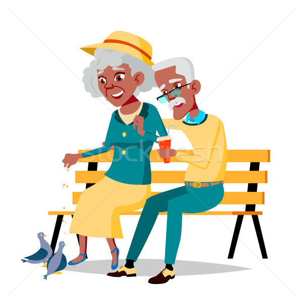 Idős pár vektor nagyapa nagymama arc Stock fotó © pikepicture