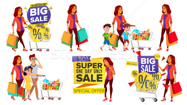 Shopping Woman Set Vector. People In Mall. Family, Children. Purchasing Concept. Happy Shopper. Hold Stock photo © pikepicture