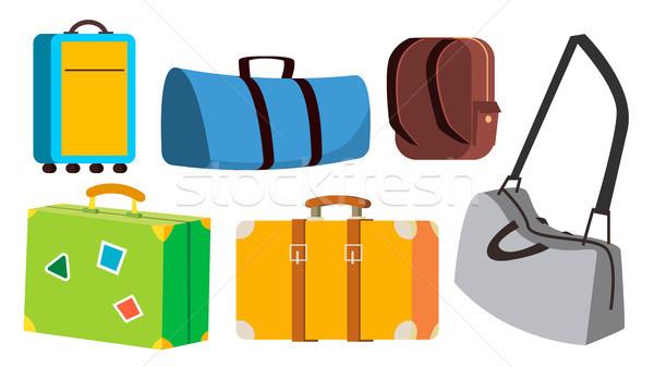 Travel Bag Set Vector. Classic, Retro, Modern, Vintage. Voyage, Summer Trip Icon. Tourism Suitcase.  Stock photo © pikepicture