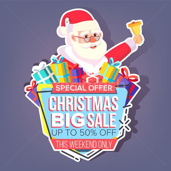 Christmas Big Sale Sticker Vector. Santa Claus. Cartoon. Seasonal Sale Banner Tag. Isolated Illustra Stock photo © pikepicture