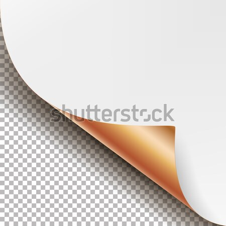 Curled Metallic Corner Vector. Realistic Paper With Soft Shadow Mock Up Close Up Isolated. Stock photo © pikepicture