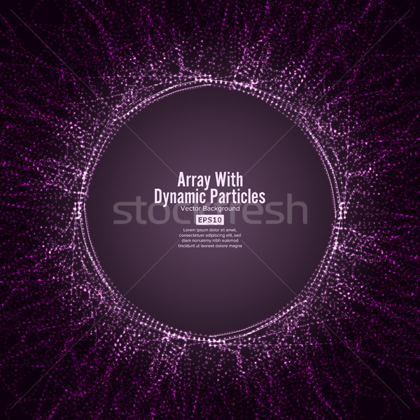 Array Vector With Dynamic Particles. Round Dots  And Lines. Graphic Abstract Background  Lighting Ef Stock photo © pikepicture