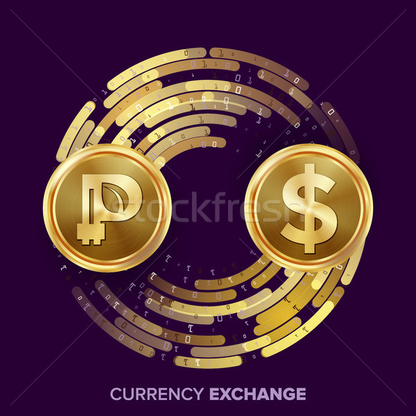 Digital Currency Money Exchange Vector. Peercoin, Dollar. Fintech Blockchain. Gold Coins With Digita Stock photo © pikepicture