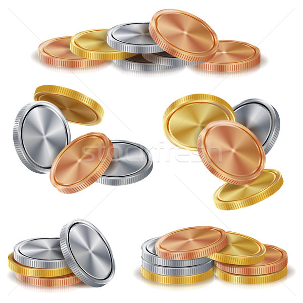 Gold, Silver, Bronze, Copper Coins Stacks Vector. Realistic Isolated Illustration Stock photo © pikepicture