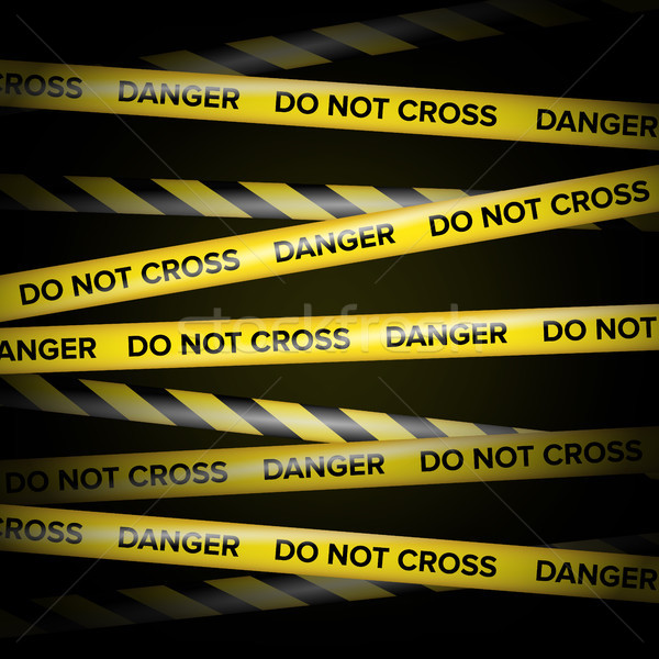 Black And Yellow Lines. Do Not Cross, Danger, Do Not Enter, Caution. Black Background. Vector Illust Stock photo © pikepicture