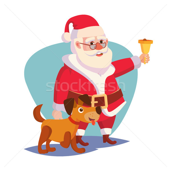 Santa Claus And Happy Dog Vector. Ringing Gold Bell And Smiling. 2018 Year Of The Dog Concept. Carto Stock photo © pikepicture